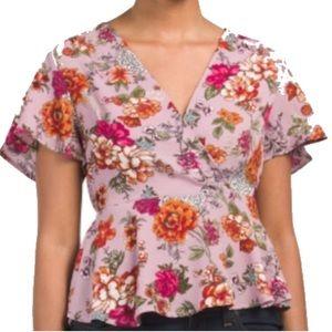 Beautiful lavender floral faux wrap v-neck blouse